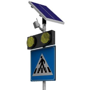 Se activa con el botón o un sensor que entra en función cuando el radar detecta la presencia de un peatón