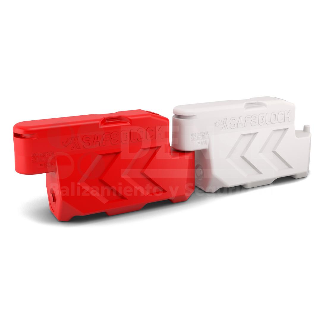 Barrera de mediana New Jersey en blanco y rojo