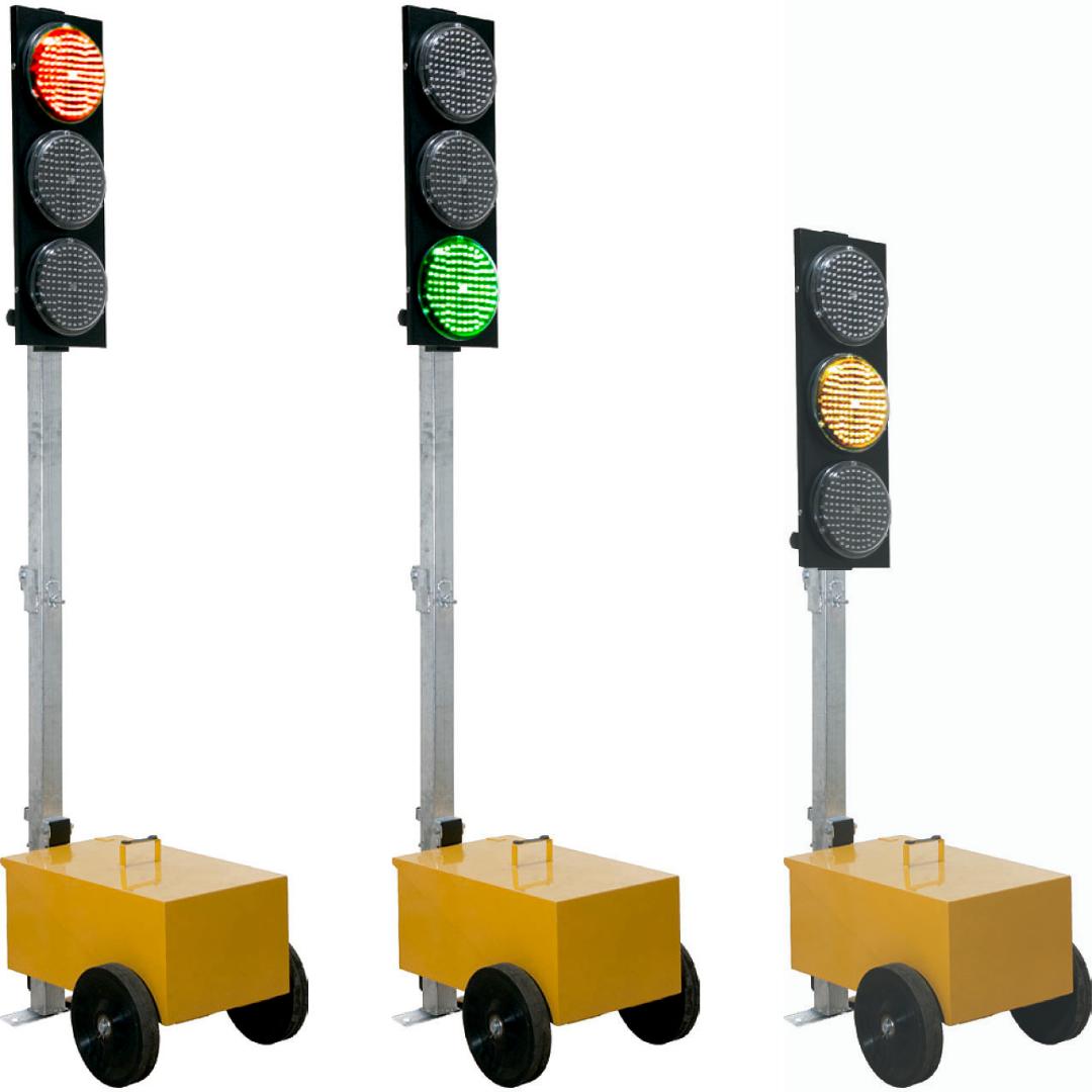 semáforo portátil en verde, rojo y ámbar