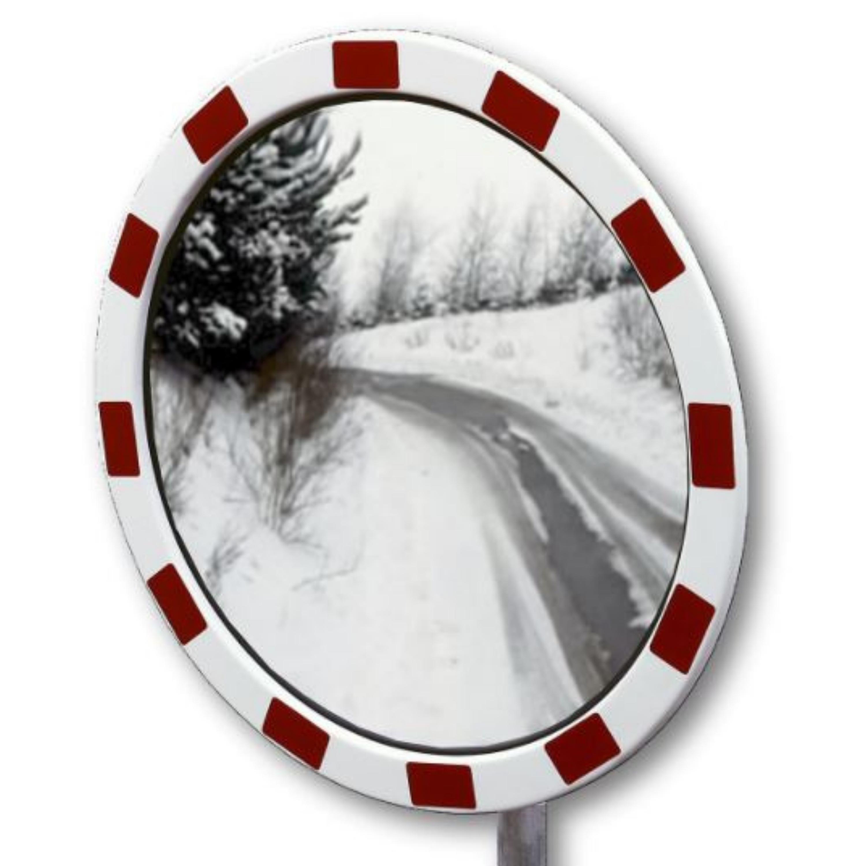 Espejo de exterior con marco rojo y blanco