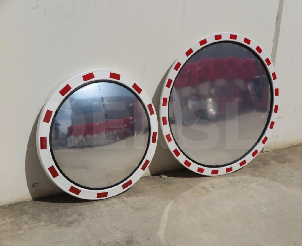 Espejos para vías urbanas de marco rojo y blanco